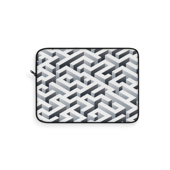 Geometric Maze Black and White Laptop Sleeve