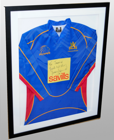 "Rugby shirt signed by Jason Leonard adapted  frame with ""Ultra View UV ""glass"