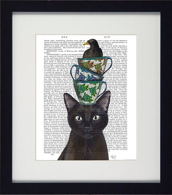 'Funky Cats 3 Framed Set of 3' - Open Edition Art