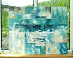 'Abstract Greenish Blue' - Original Canvas