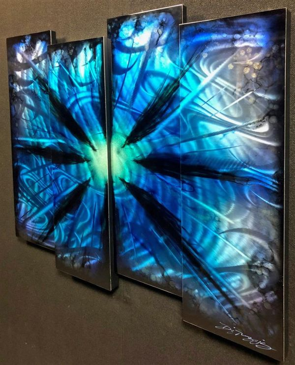 Chris DeRubeis - 'Blue Burst 4 Panel Original - Missing' - Original Art