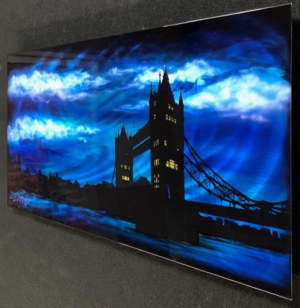 Chris DeRubeis - 'London Bridge Blue & Silver Tones ~1908394' - Original Art