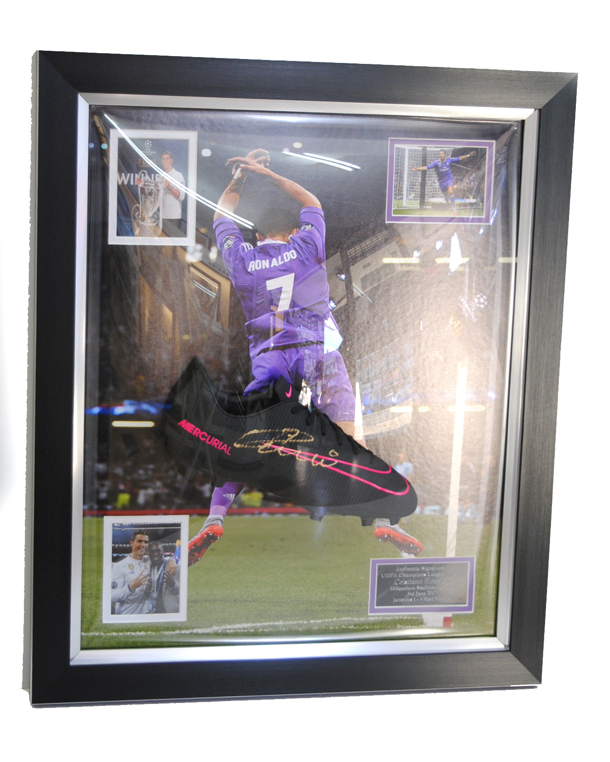 Signed Cristiano Ronaldo football boot and photos in acrylic dome (collection only)