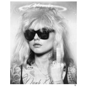 """Atomic Girl"" (Blondie) Black & White Tattoo by JJ Adams (limited edition print)"