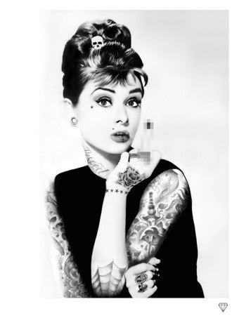 """Audrey Hepburn Tattoo Black and White"" by JJ Adams (limited edition print)"