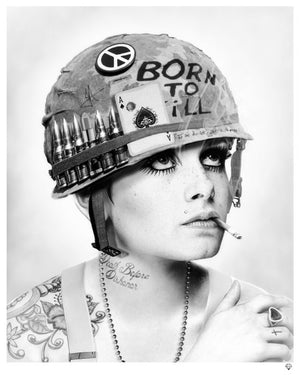 """Full Metal Twiggy Black and White"" by JJ Adams (limited edition print) - New Look Art"