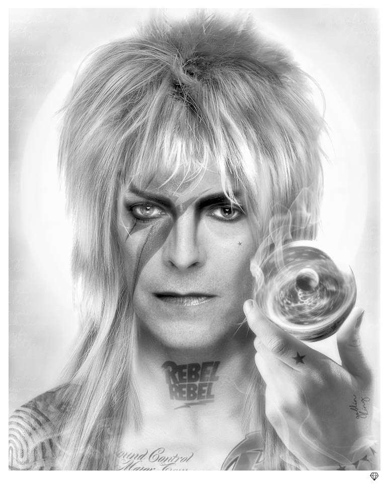 """Goblin King"" David Bowie (Black & White) by JJ Adams (limited edition print) - New Look Art"
