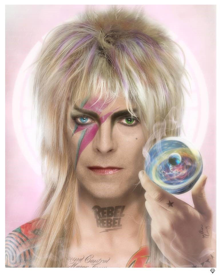 """Goblin King"" David Bowie (Colour) by JJ Adams (limited edition print) - New Look Art"