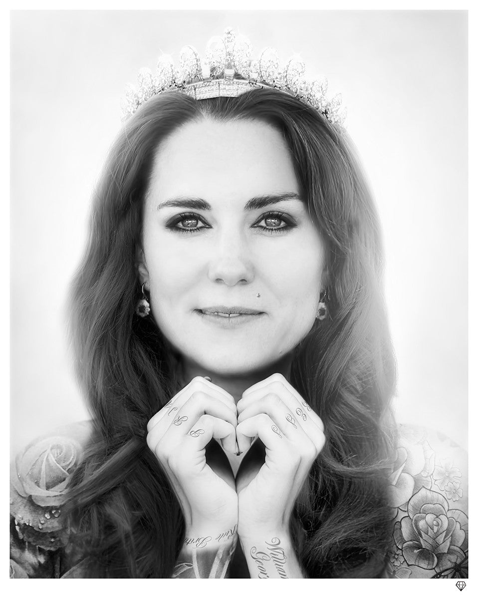 """Kate Middleton (Black and White)"" by JJ Adams (limited edition print) - New Look Art"