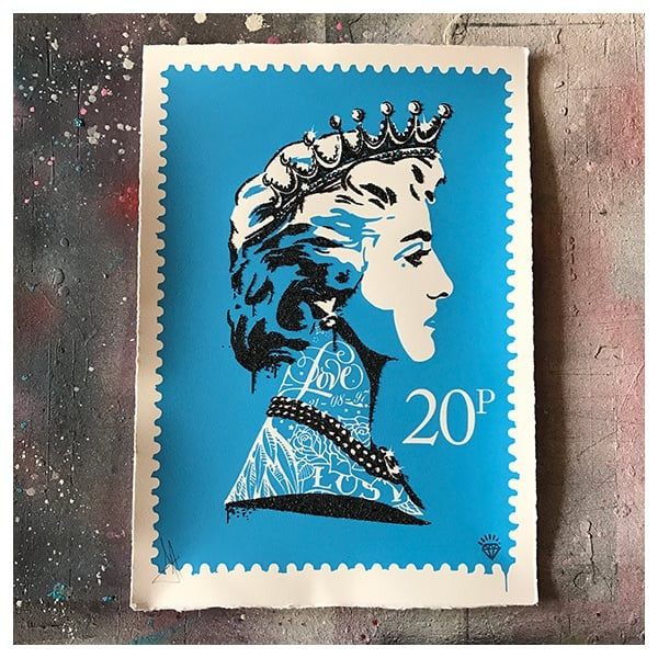 JJ Adams - 'Princess Diana Stamp' (Blue) - Framed Limited Edition Print