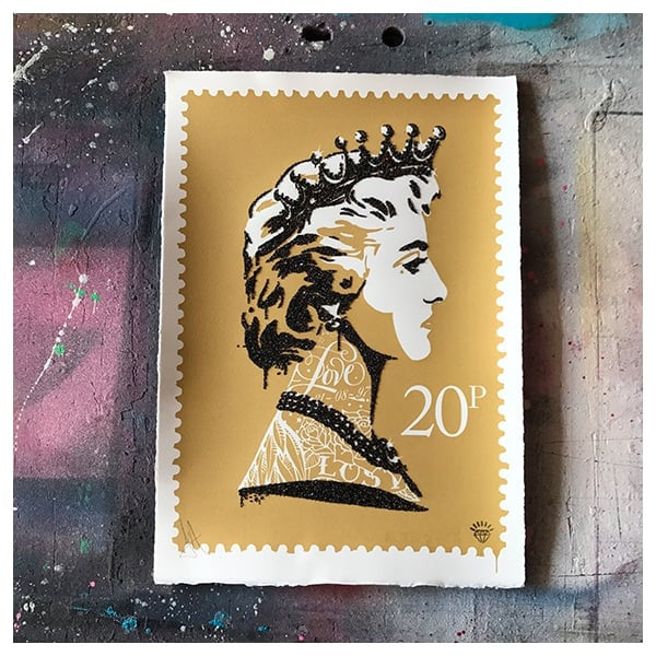 JJ Adams - 'Princess Diana Stamp' (Gold) - Framed Limited Edition Print