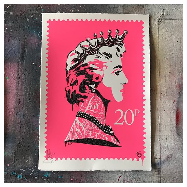 JJ Adams - 'Princess Diana Stamp' (Pink) - Framed Limited Edition Print