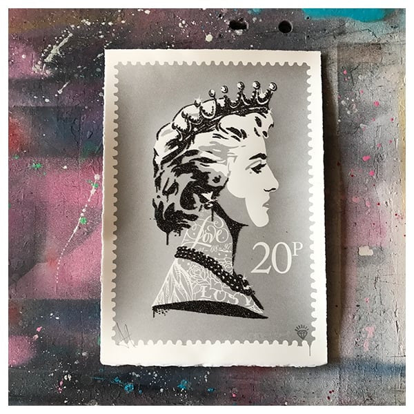 JJ Adams - 'Princess Diana Stamp' (Silver) - Framed Limited Edition Print