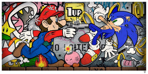 """Sonic Vs Mario"" by JJ Adams (limited edition print)"