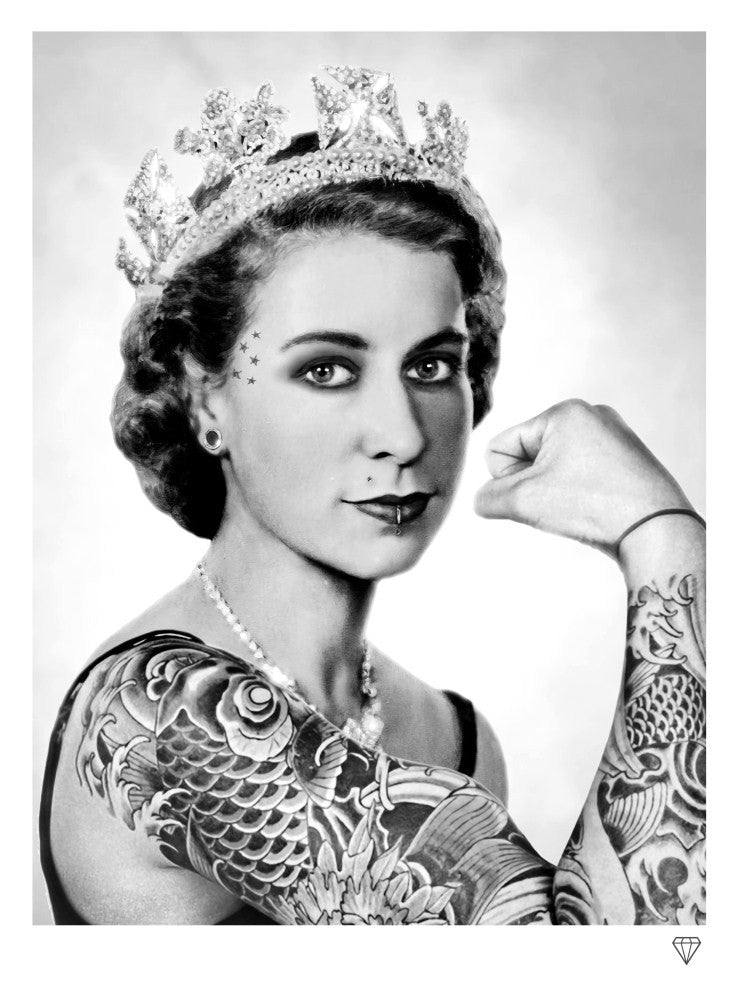 """The Queen Tattoo Black and White"" by JJ Adams (limited edition print) - New Look Art"