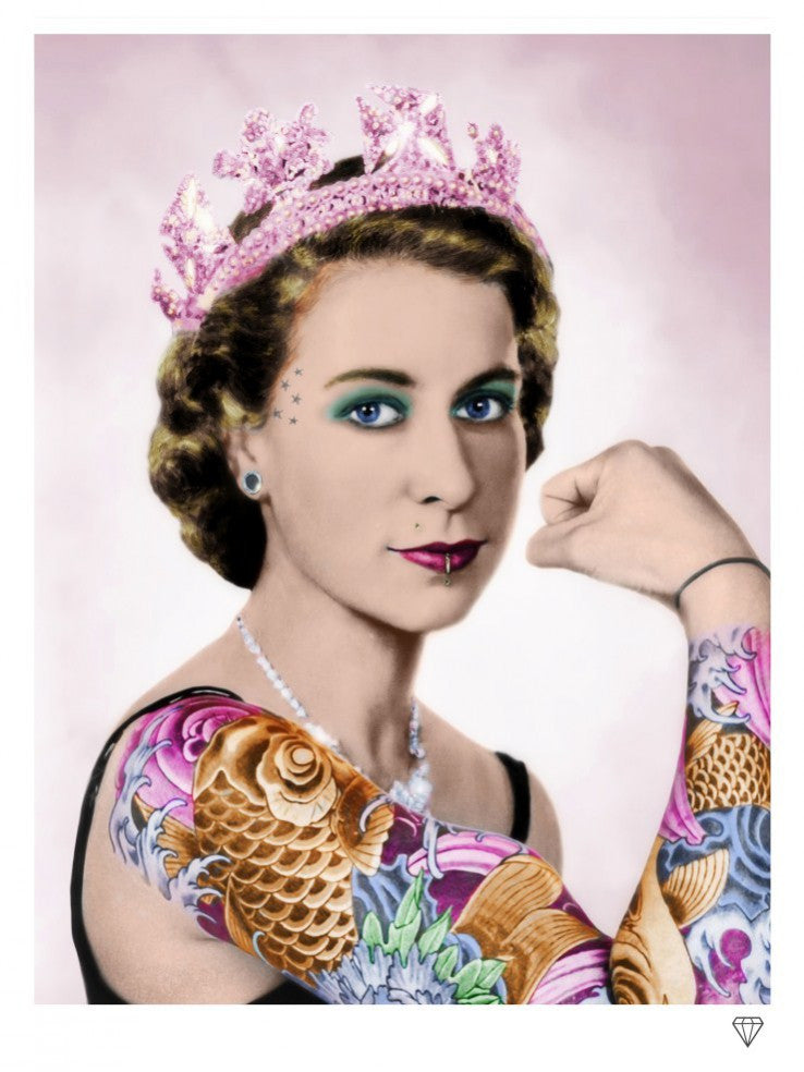 """The Queen Tattoo Colour"" by JJ Adams (limited edition print) - New Look Art"