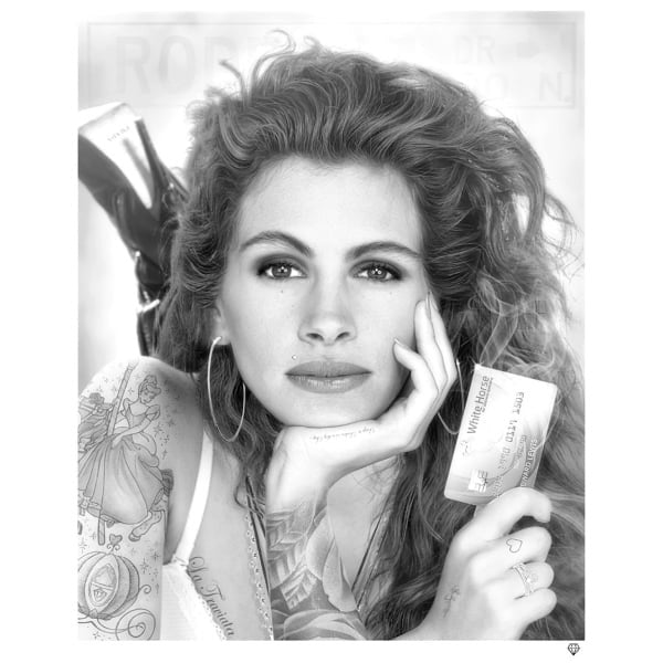 JJ Adams - 'White Knight' Julia Roberts (Black and White) - Llimited Edition Print