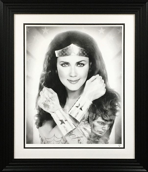 """Wonder Woman - Black & White"" (Tattoo Series) by JJ Adams (limited edition print)"