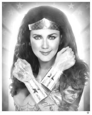 JJ Adams - 'Wonder Woman' Black & White (Tattoo Series) - Limited Edition Print