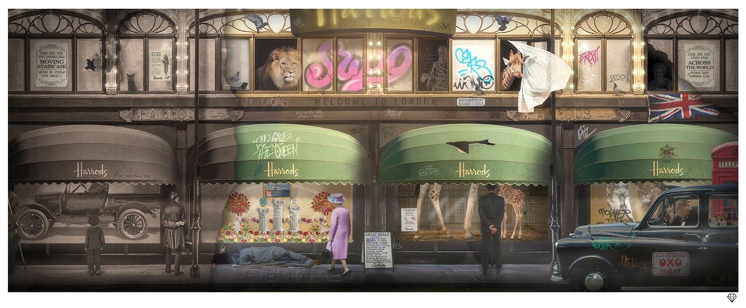 JJ Adams - 'Harrods'  Through the Ages (Rule Britannia Series) - Limited Edition Print