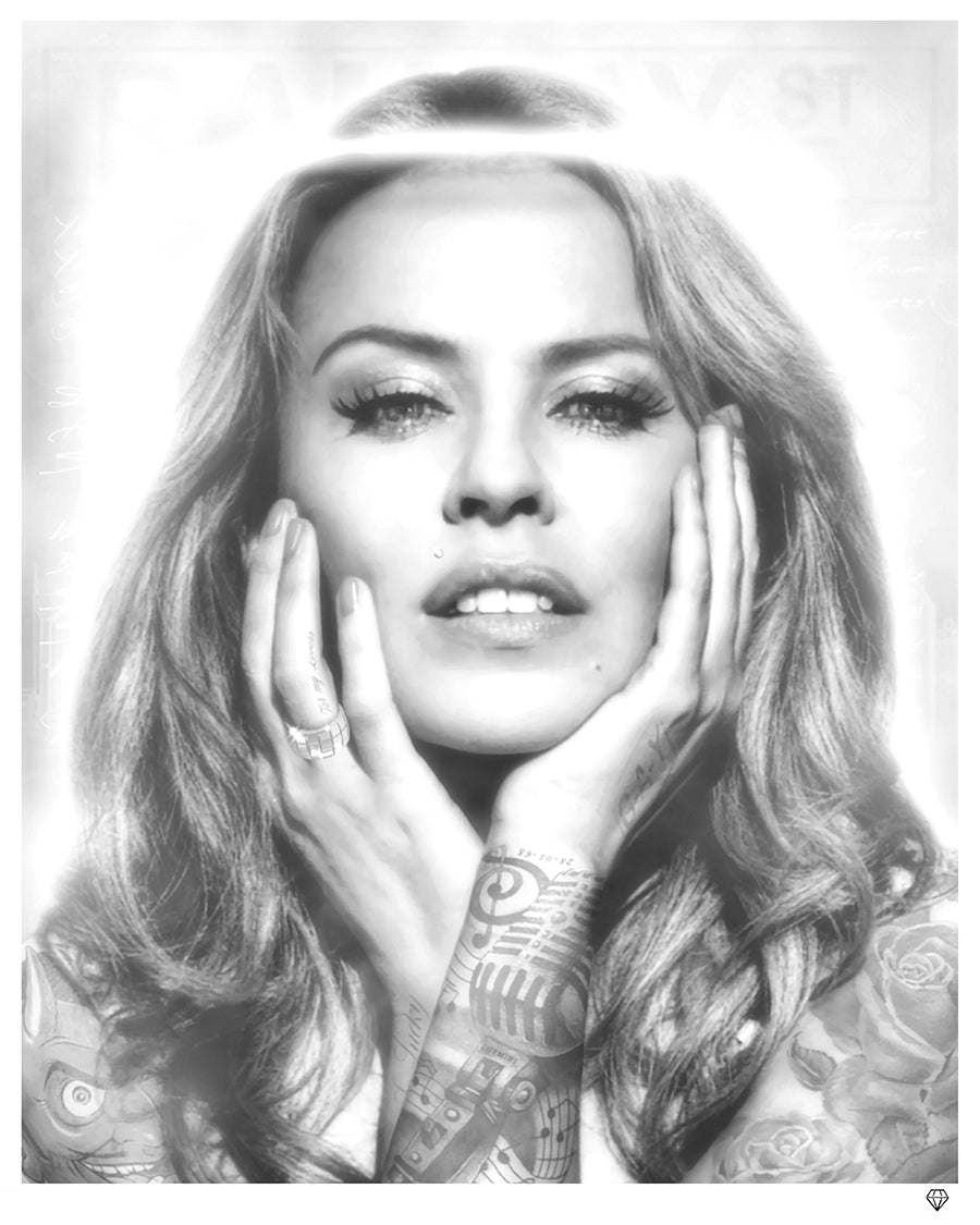 """Kylie Minogue - Black & White"" (Tattoo Series) by JJ Adams (limited edition print)"
