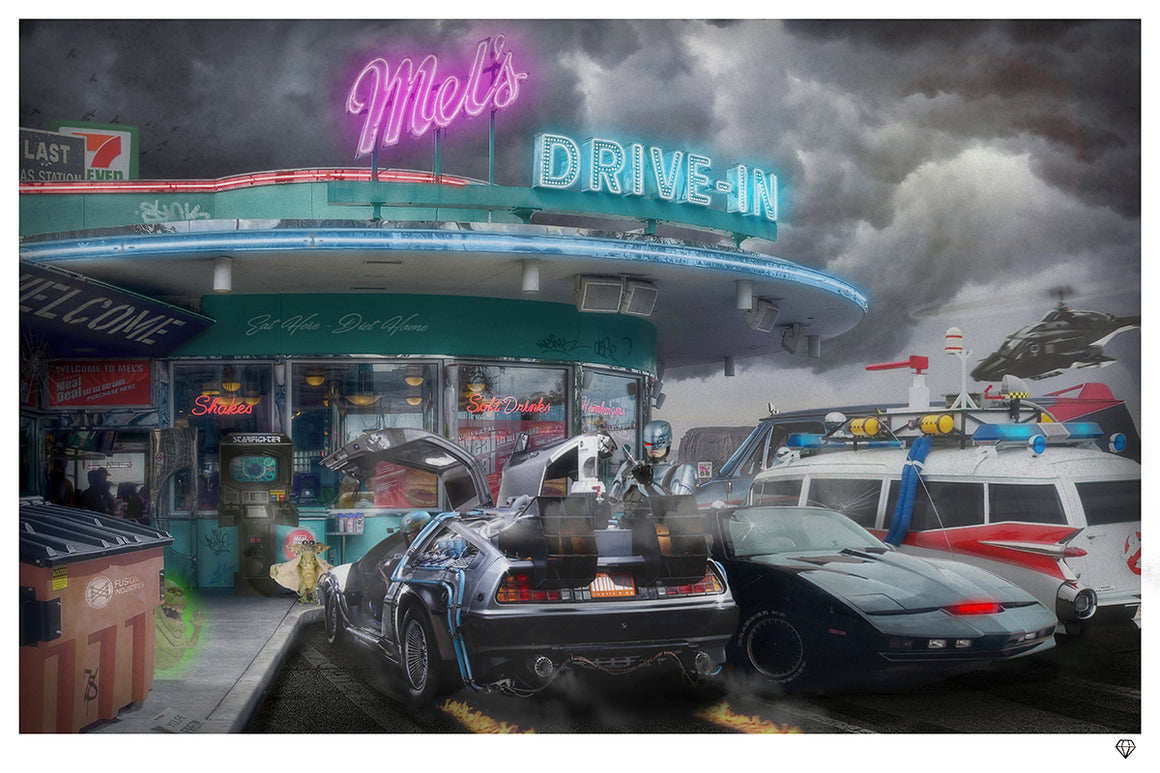 """Mel's Diner"" Time Traveller (Rule Britannia Series) by JJ Adams (limited edition print)"