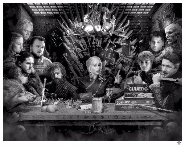 """Board - Game of Thrones"" (Black & White) by JJ Adams (limited edition print)"