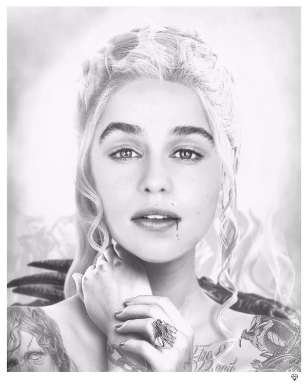 """Fire & Blood - Game of Thrones"" (B&W) by JJ Adams (limited edition print)"