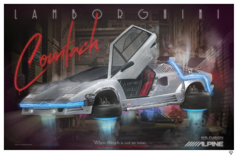 JJ Adams - 'No Landing' (Lamborghini Countach) - Limited Edition Print