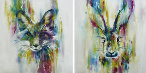 Katy Jade Dobson - 'Fox' (Chase) and 'Hare' (Escape) - Large Limited Edition Prints