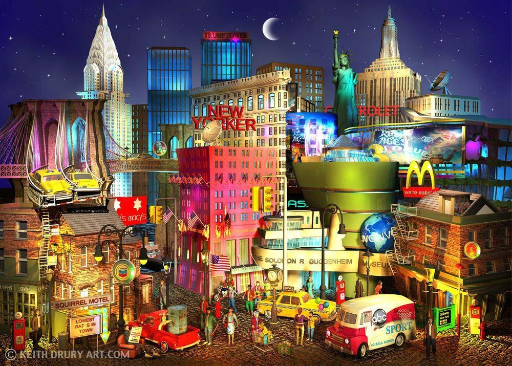 """New York Nights"" by Keith Drury (limited edition artwork)"