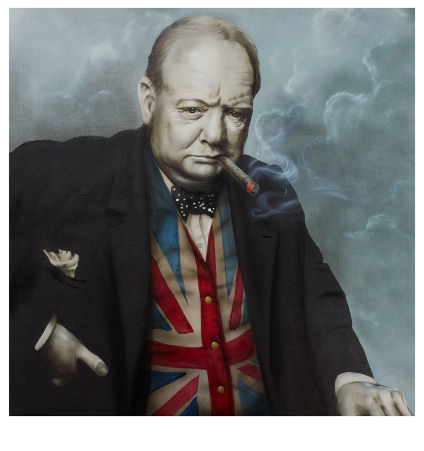 """Man of the Flag (Winston Churchill)"" by Paul Karslake FRSA (limited edition print)"