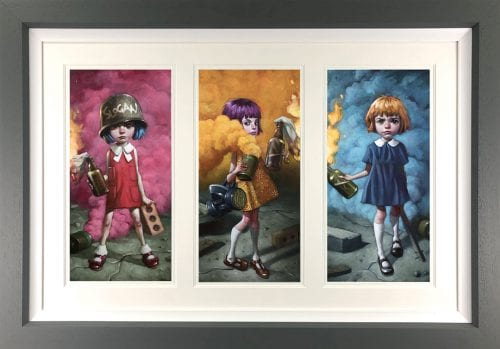 Craig Davison  - 'Riot Girls Tryptic' - Framed Limited Edition