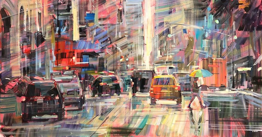 Colin Brown - 'Rainy Day in New York' - Framed Original Art