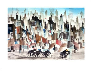 Sue Howells RWS - 'Four Go Cycling' - Limited Edition Art
