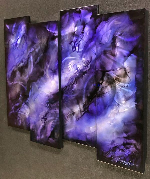 Chris DeRubeis - 'Purple 4 Panel Abstract - 1705298' - Original Art