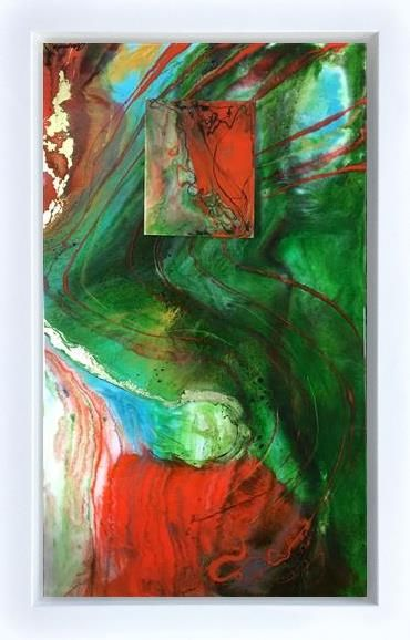Amanda Jones - 'Green Flow with Raised Plaque' - Original Art