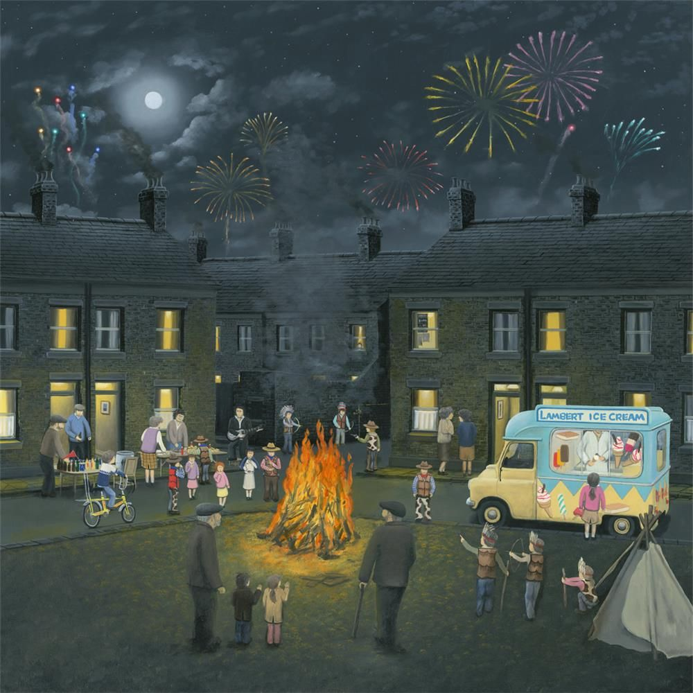 Leigh Lambert - ' Bonfire Lights ' - Deluxe Canvas - Limited Edition Art