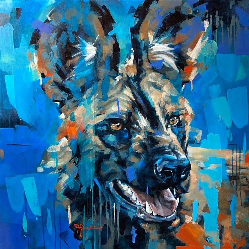 Frank Pretorius - 'Painted Dog' - Framed Original Art