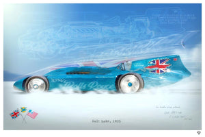 JJ Adams - BlueBird (Land Speed Record) - Limited Edition Print
