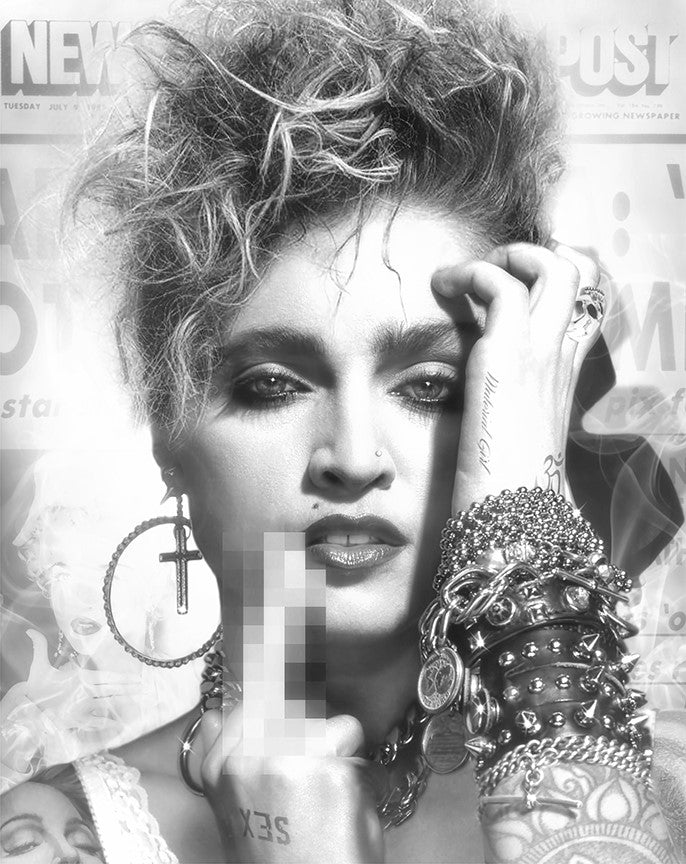 JJ Adams - 'Lucky Star' (Madonna) - Black & White - Limited Edition Print & Original
