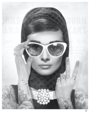 JJ Adams - 'Peace, Love & Audrey' (B&W) - Limited Edition Print & Original