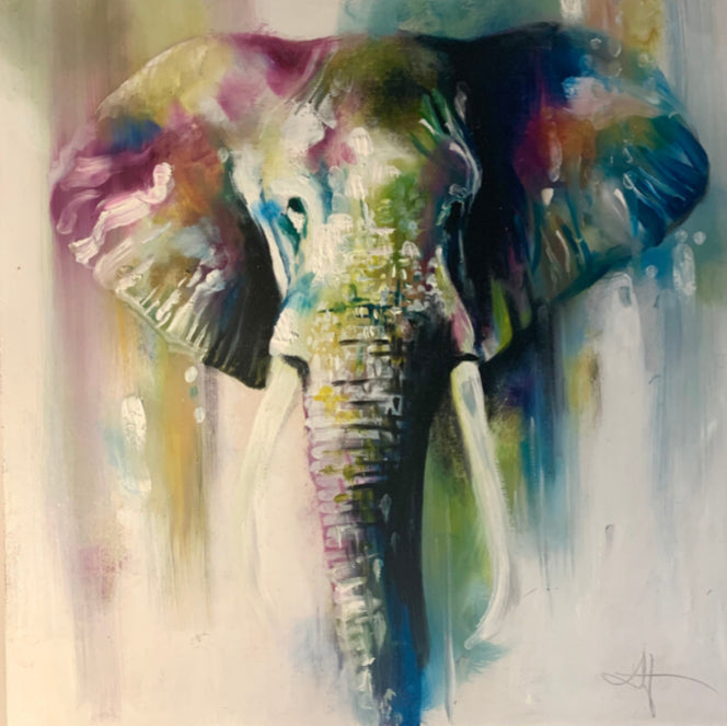 Katy Jade Dobson - 'Elephant Head' - Framed Original Oil Painting