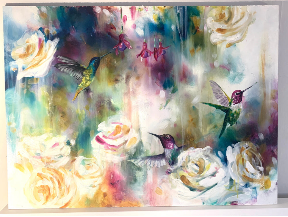 Katy Jade Dobson - 'Hummingbirds' (2019 Edition) - Framed Original Oil Painting