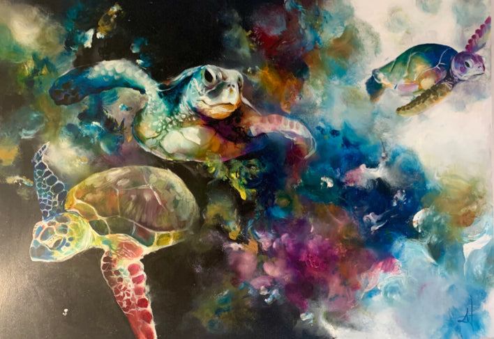 Katy Jade Dobson - 'Turtles' - Framed Original Oil Painting
