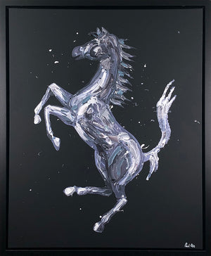 Paul Oz - Rampante Cavallo (Black) - Framed Limited Edition Canvas Artwork