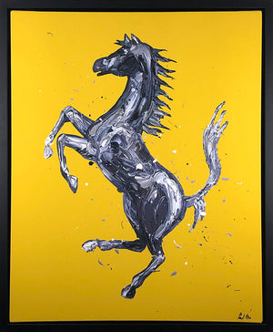 Paul Oz - Rampante Cavallo (Yellow) - Framed Limited Edition Canvas Artwork