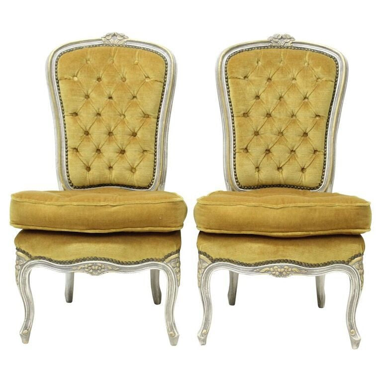 ... Louis XV Gold Slipper Chairs   Pair ...