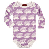 Organic Cotton Long Sleeve Onesie - Lavender Hedgehog