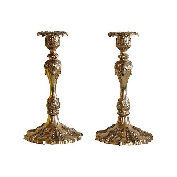 Ornate Brass Candleholders - Pair